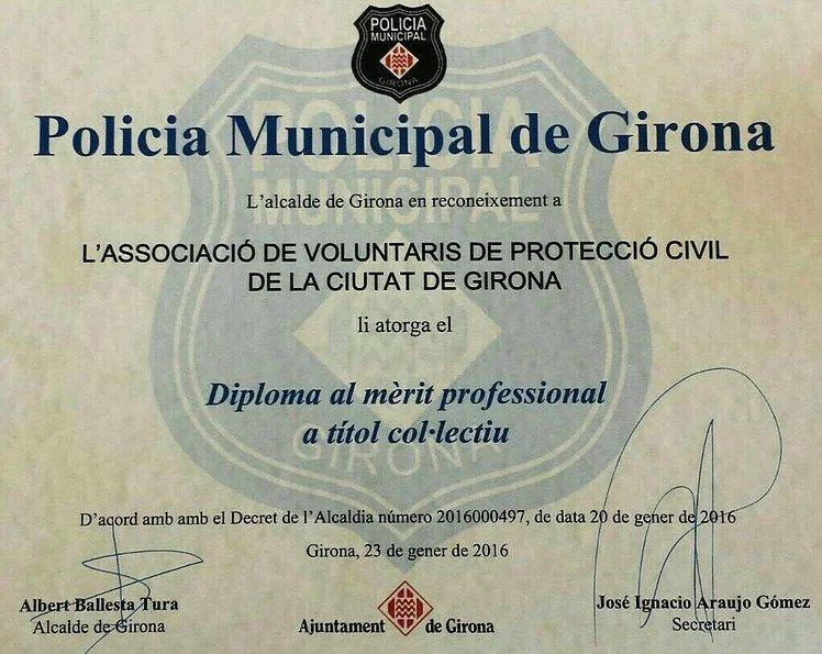Reconeixement a l'Associació de Voluntaris de Protecció Civil de Girona per part de la Policia Municipal de Girona