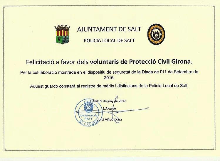 Reconeixement a l'Associació de Voluntaris de Protecció Civil de Girona per part de la Policia Local de Salt